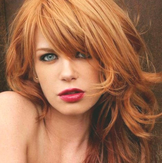 finest blond red hair concept - beautiful blond red hair model
