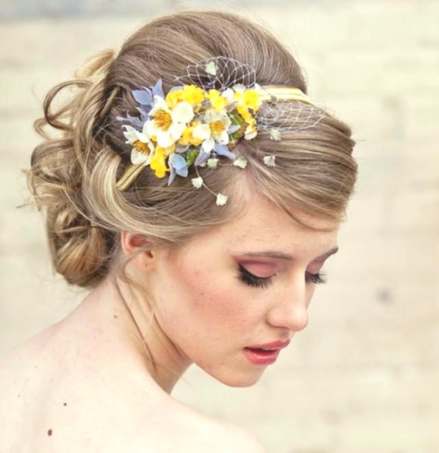Sensational cute bridal hairstyle with flowers décor-Amazing Bridal Hairstyle With Flowers Gallery
