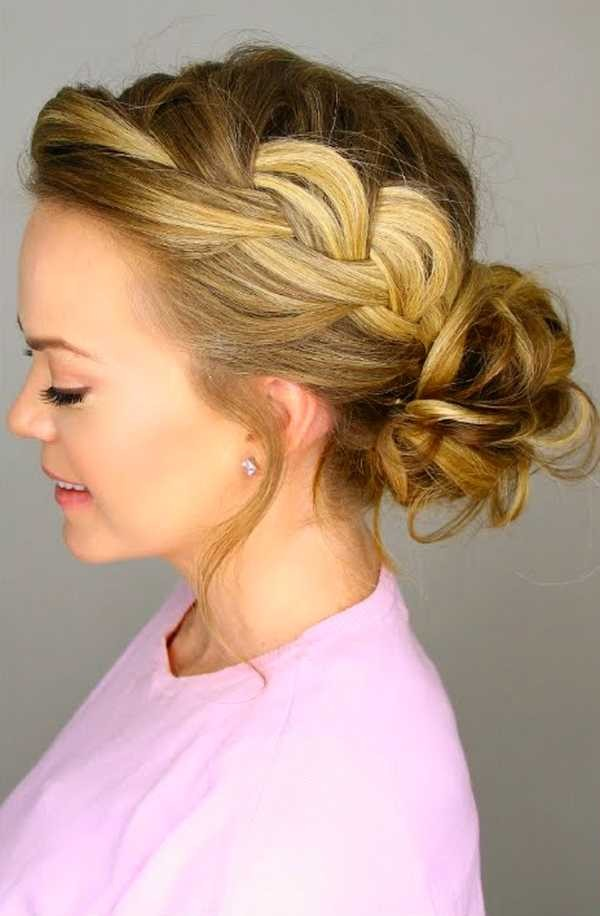 messy braided bun hairstyle